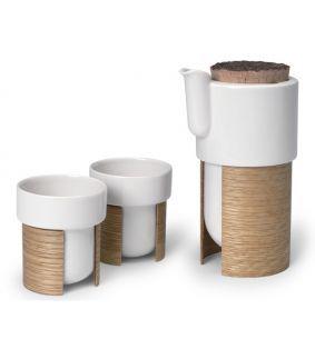 Set Warm pentru cafea sau ceai 60 cl cu 2 cesti, stejar