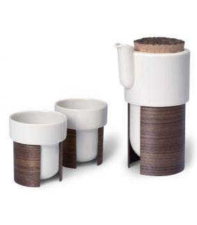 Set Warm pentru cafea sau ceai 60 cl cu 2 cesti, nuca