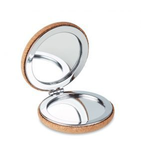 Oglindă compactă dublă, capac cu finisaj din plută